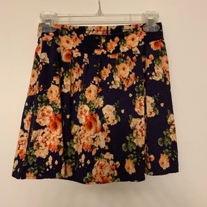 Navy and floral mini skirt